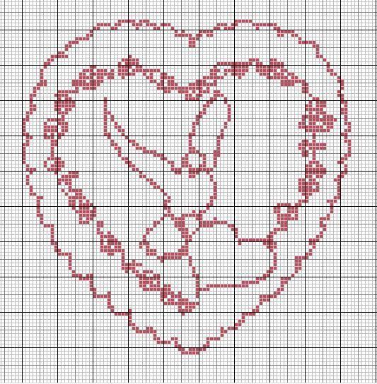 Cross stitch point de croix coeur besoin d 39 amour pinterest point de croix - Grille gratuite point de croix coussin de mariage ...