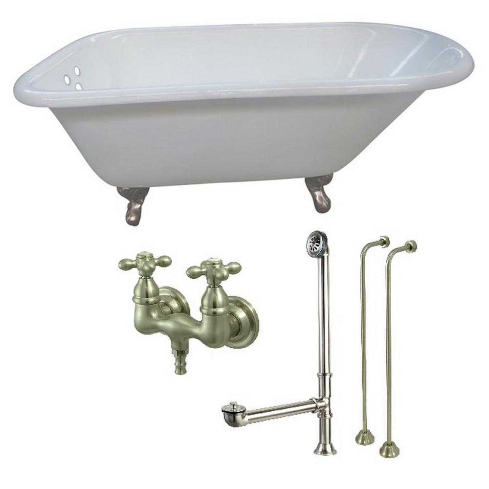 Aqua Eden Petite 54 In Cast Iron Clawfoot Bathtub In White And