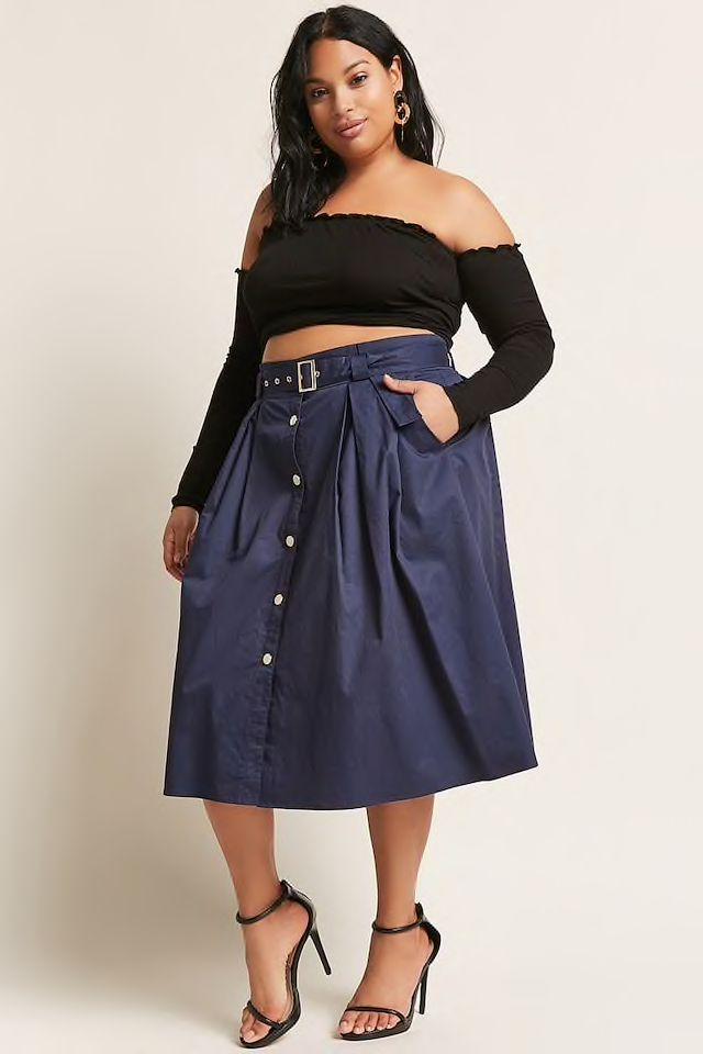 Forever 21 Plus Size Button-Front Midi Skirt | Vestido de cuadros ...