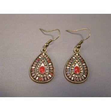 eearrings.com Red & Crystals Drops Earrings