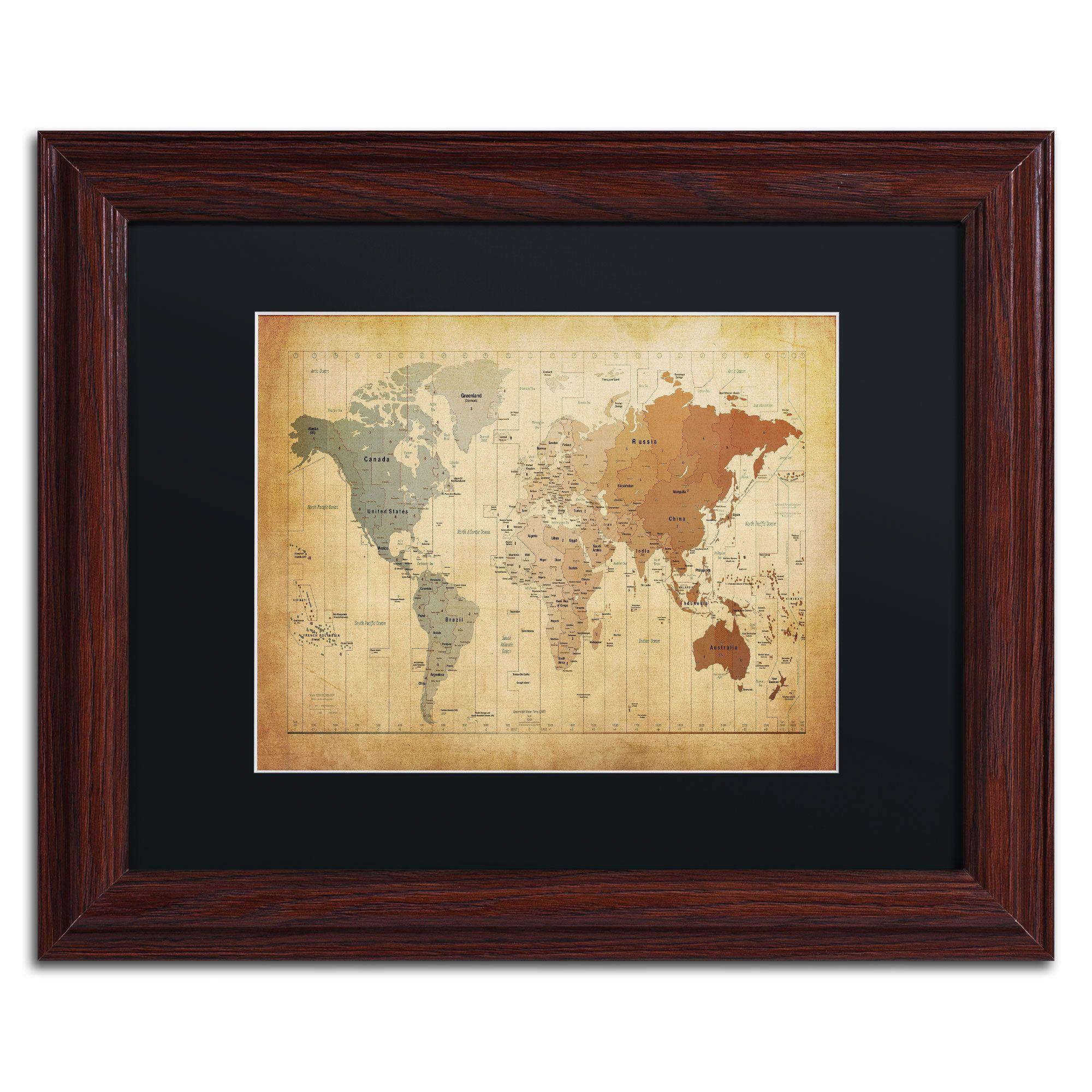 Michael Tompsett \'Time Zones Map of the World\' Black Matte, Wood ...
