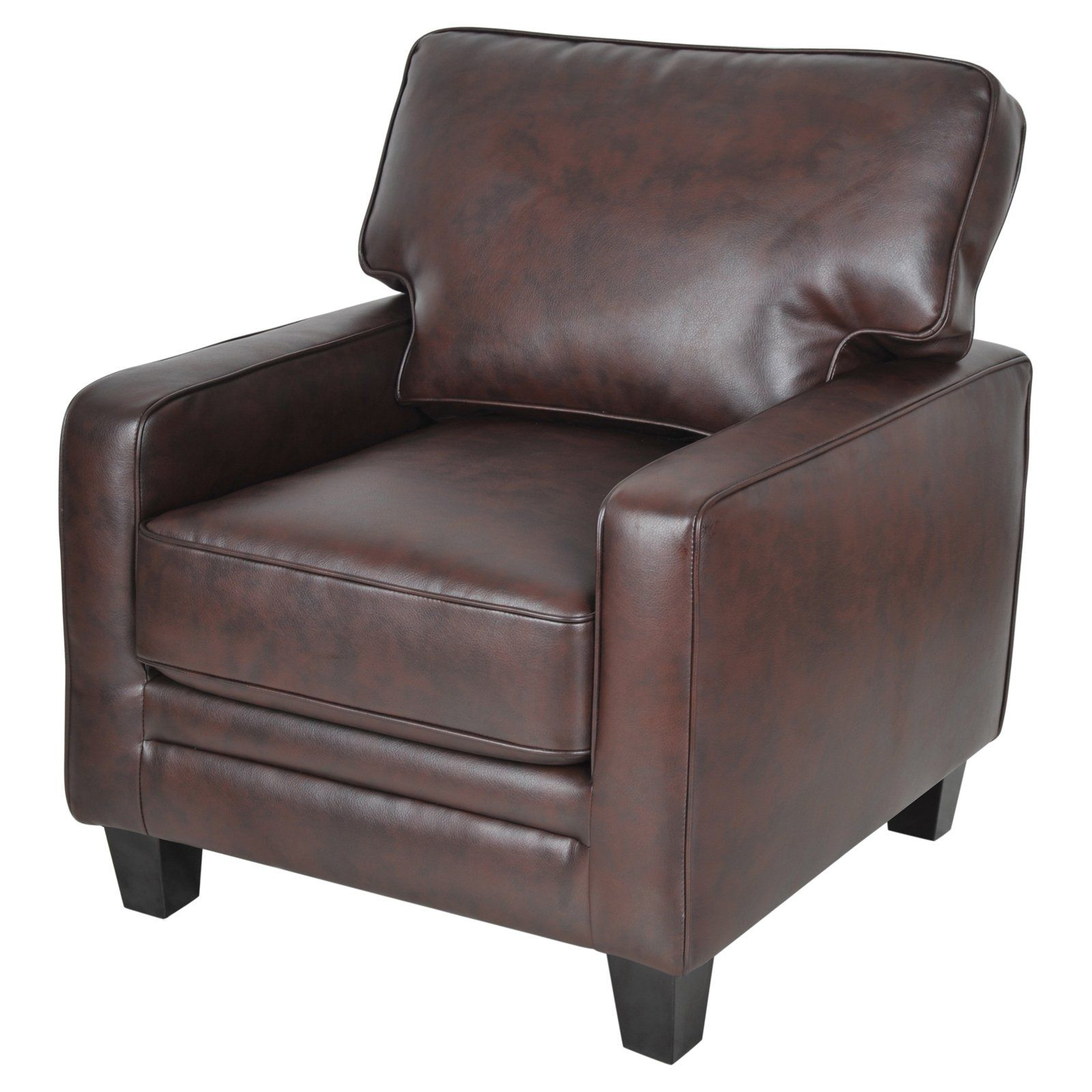 Leather accent chairs with arms - Serta Monaco Collection Eco Friendly Bonded Leather Track Arm Accent Chair Biscuit Brown