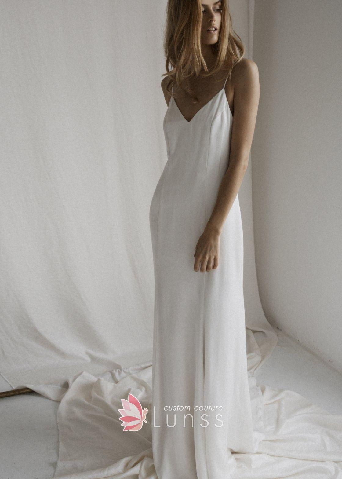 Plunging V Back White A Line Bridal Shower Dress Slip Wedding Dress Bridal Shower Dress Dresses [ 1568 x 1120 Pixel ]