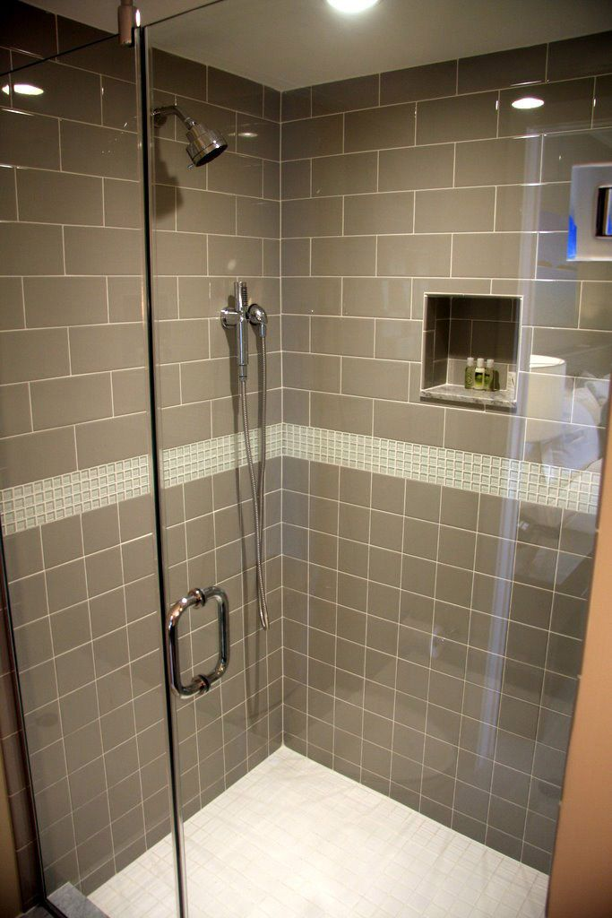 shower tile with taupe subway tile | Modern Bathrooms | Pinterest ...