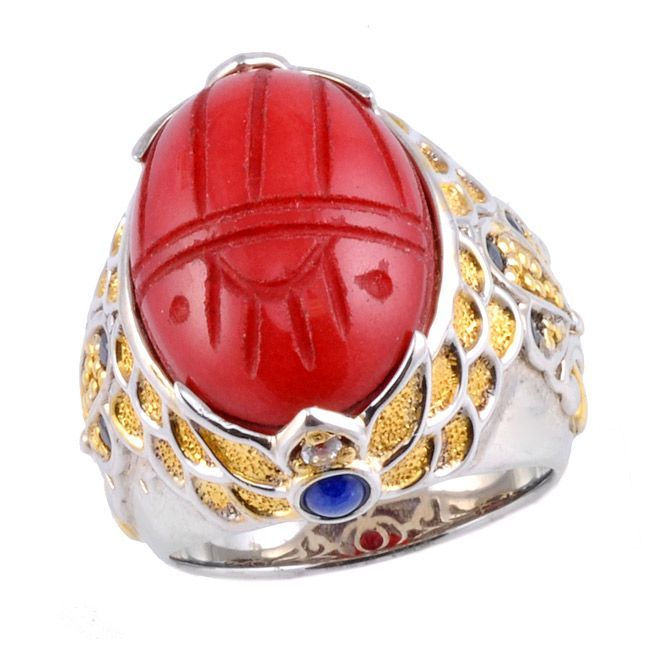 Michael Valitutti Two-tone Red Jade, Lapis and Sapphire Ring (size 5.5), Women's, Green