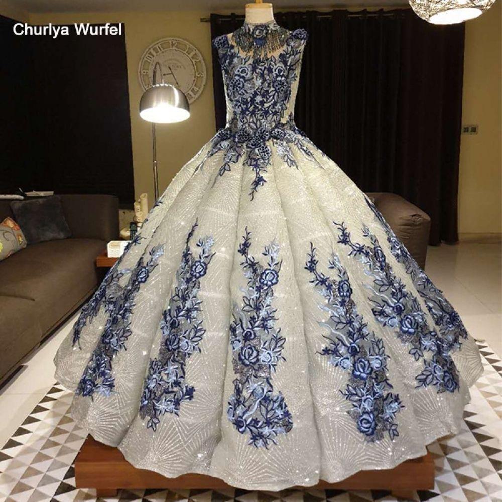 Photo of swollen Evening Dresses floor length crystal high neck sleev…