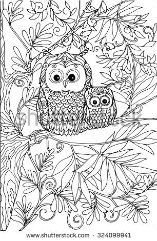 Coloring Book For Adult And Older Children Page With Lovely Mother Owl Her Small Owlet In The Garden