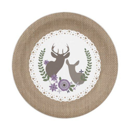 Burlap + Lace Inspired Deer Wedding - Purple Paper Plate | Burlap Wedding Ideas | Pinterest | Burlap lace Deer wedding and Burlap  sc 1 st  Pinterest : burlap and lace paper plates - pezcame.com