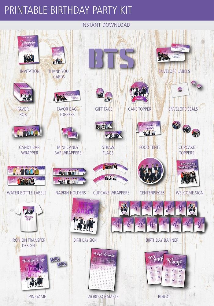 Bts Birthday Party Printable Kit Birthday Buzzin In 2020 Bts Birthdays Birthday Party Kits Party Printables