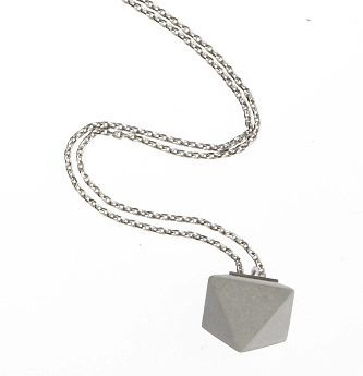 $189 Concrete Collier Betton Pendant: Concrete Pendant on Sterling Silver necklace from Waiting for the Sun. Made in France.