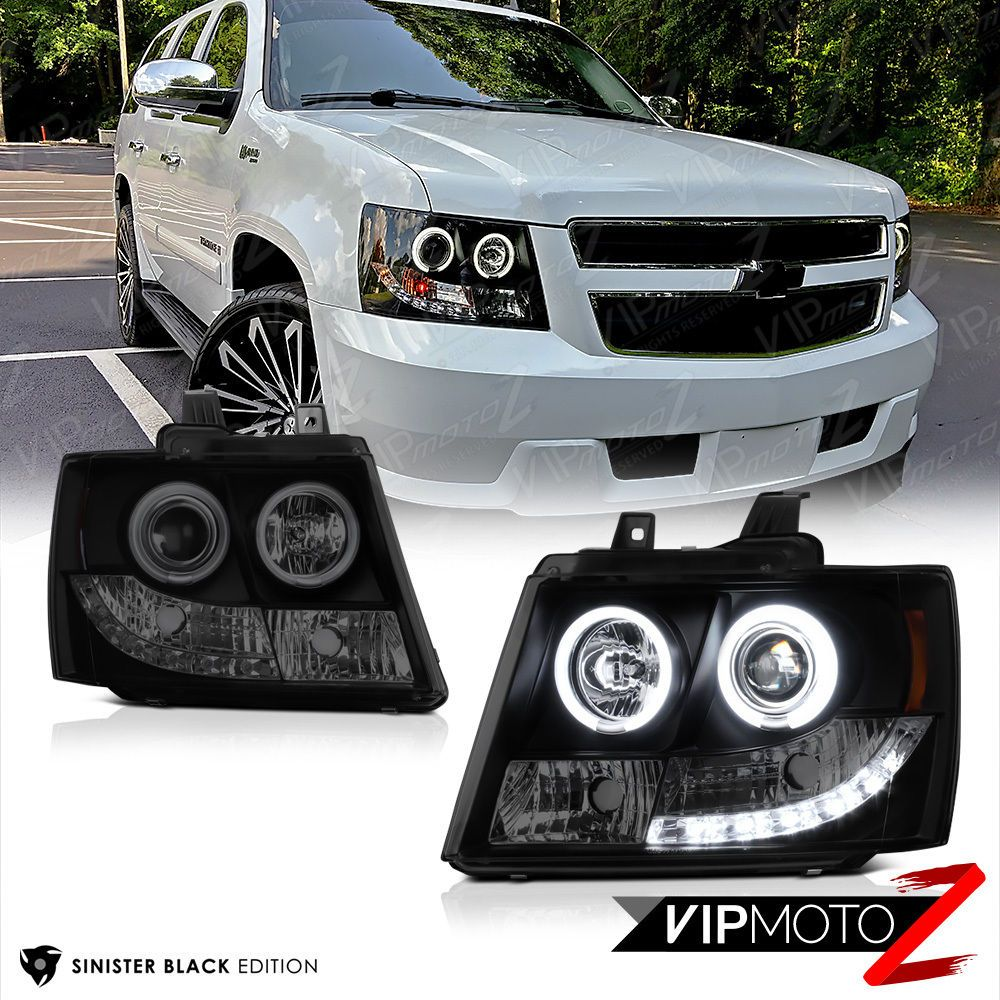 2007 2014 chevy suburban tahoe sinister black ccfl halo rim led drl headlights ebay motors parts accessories car truck parts ebay  [ 1000 x 1000 Pixel ]