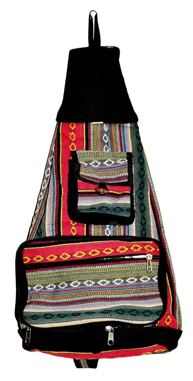 Bohemian Hippie Hemp Cotton Unique Sling Shoulder Backpack -- Check this awesome image  : Backpack
