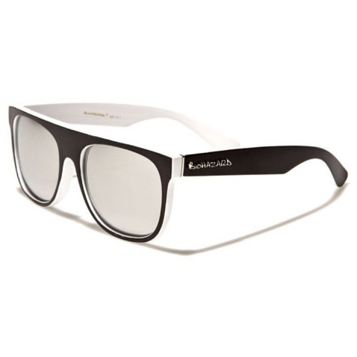 Biohazard Mens/Womens Wayfarer Sunglasses Black and White with Colored Mirror Lens