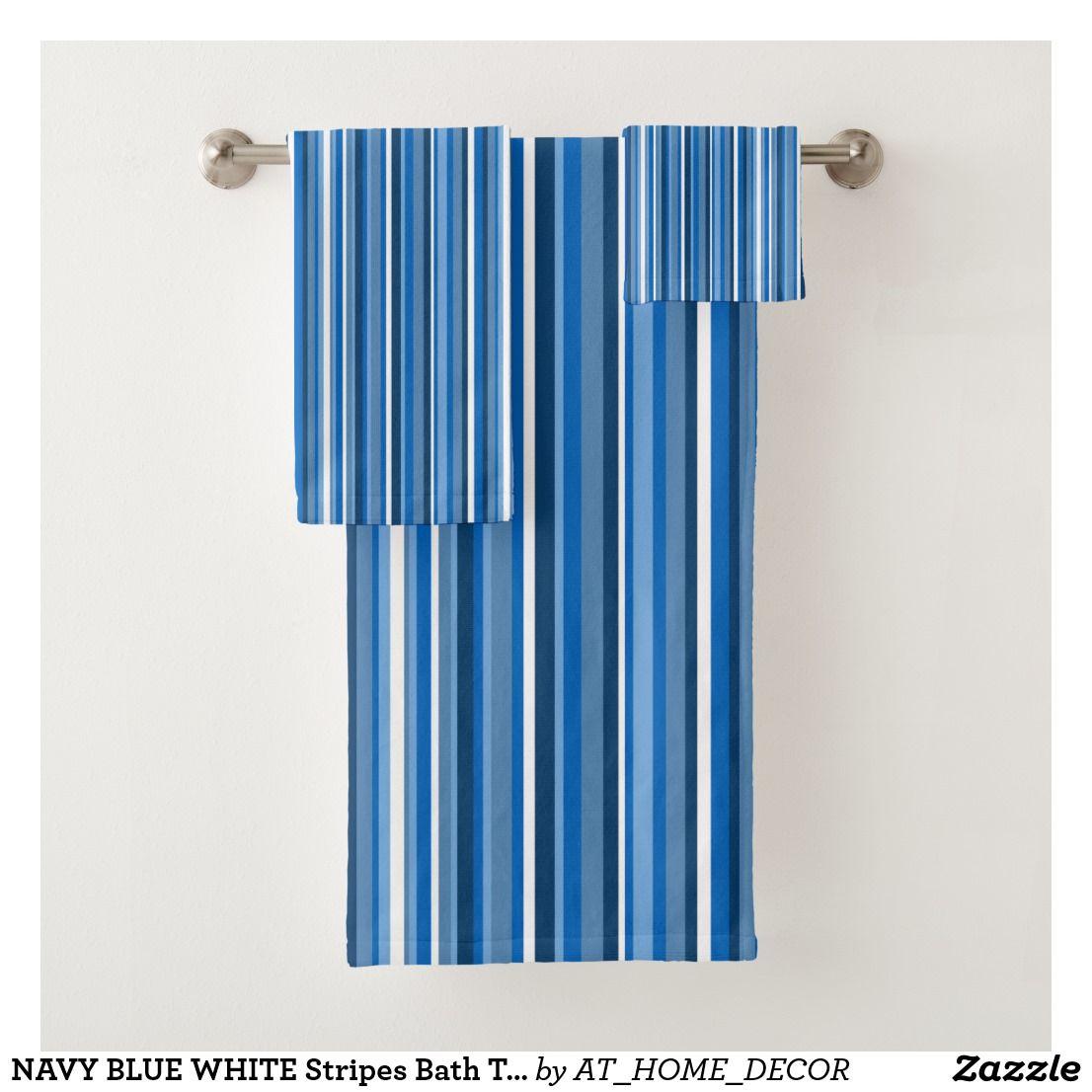 Navy Blue White Stripes Bath Towel Set Zazzle Com Home Decor