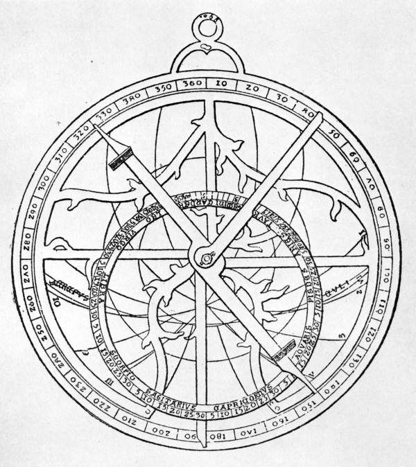 Line Drawing Of An Astrolabe Steampunk Coloring