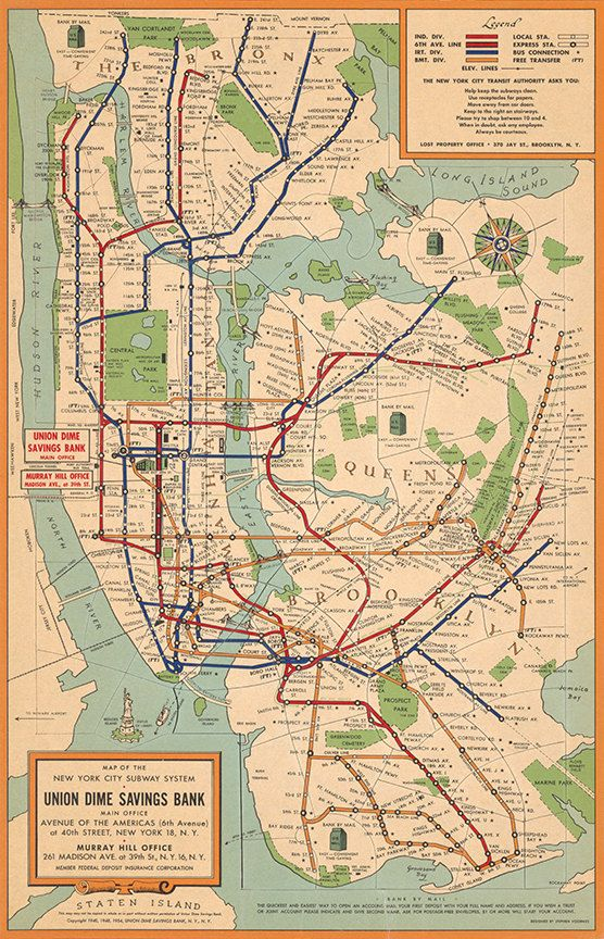 Nyc Subway Map Puzzle.Map Of New York City Subway System 1954 Vintage Restoration