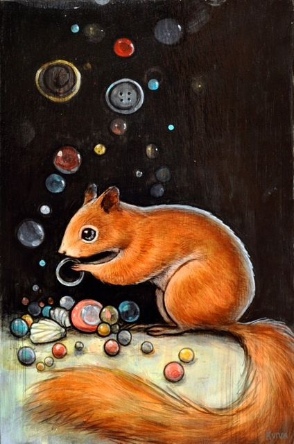 """""""Squirrel's Collection"""" by Kelly Vivanco. Check out her paintings on flickr.  She is amazing, her paintings are so vivid and imaginative."""
