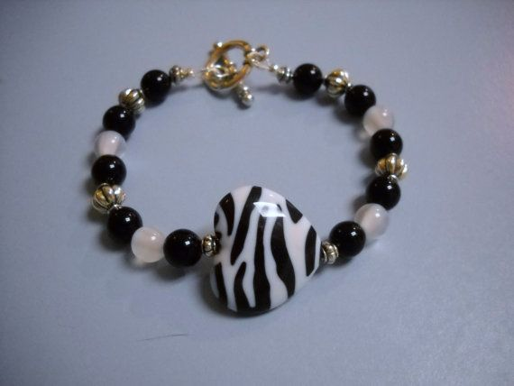 BLACK Jasper WHITE Fiber Optic Antique Silver by Beads4You2008,