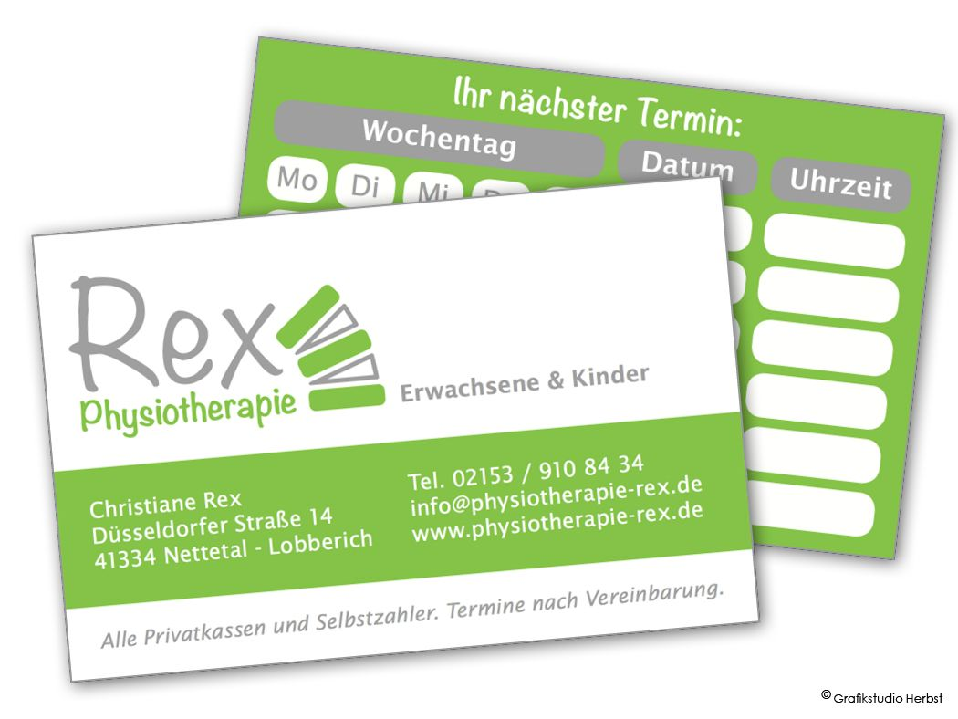 Corporate Design für Physiotherapie Rex: Logo, Visitenkarte, Website http://www.physiotherapie-rex.de/