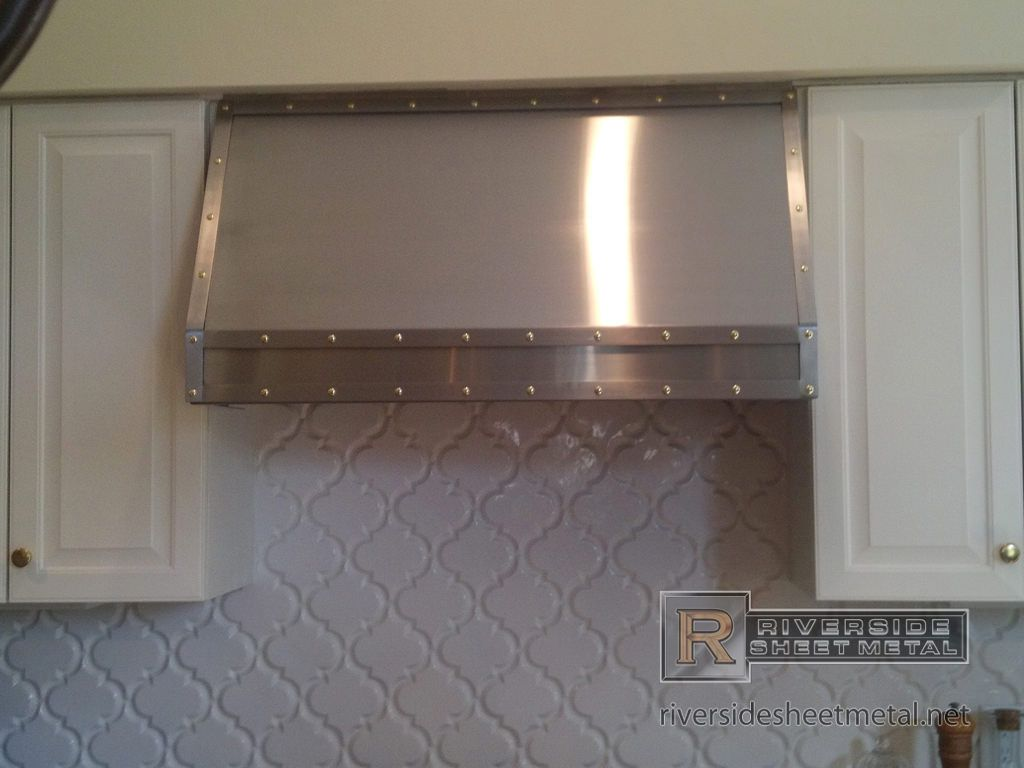 Custom Metal Cabinets Stainless Steel Custom Hood Vent With Band And Brass Rivets