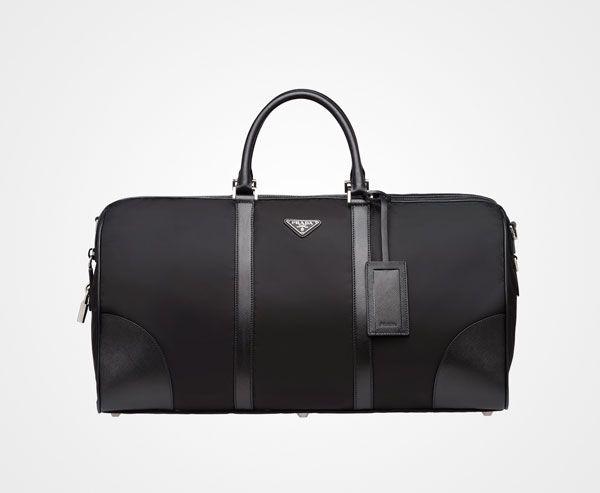 2c3f378cd575 Nylon And Saffiano Leather Travel Bag