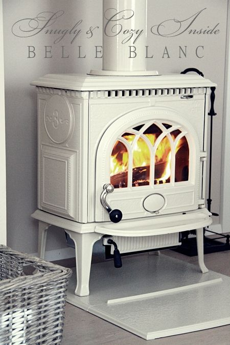 What a wonderfully lovely, timeless wood stove done up in fresh, versatile  white. - This Is Like Our Wood Stove However, We Have The Black Pipe Coming