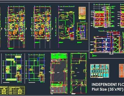 Best Autocad Drawing Of A G 2 Residential Independent Floor 640 x 480