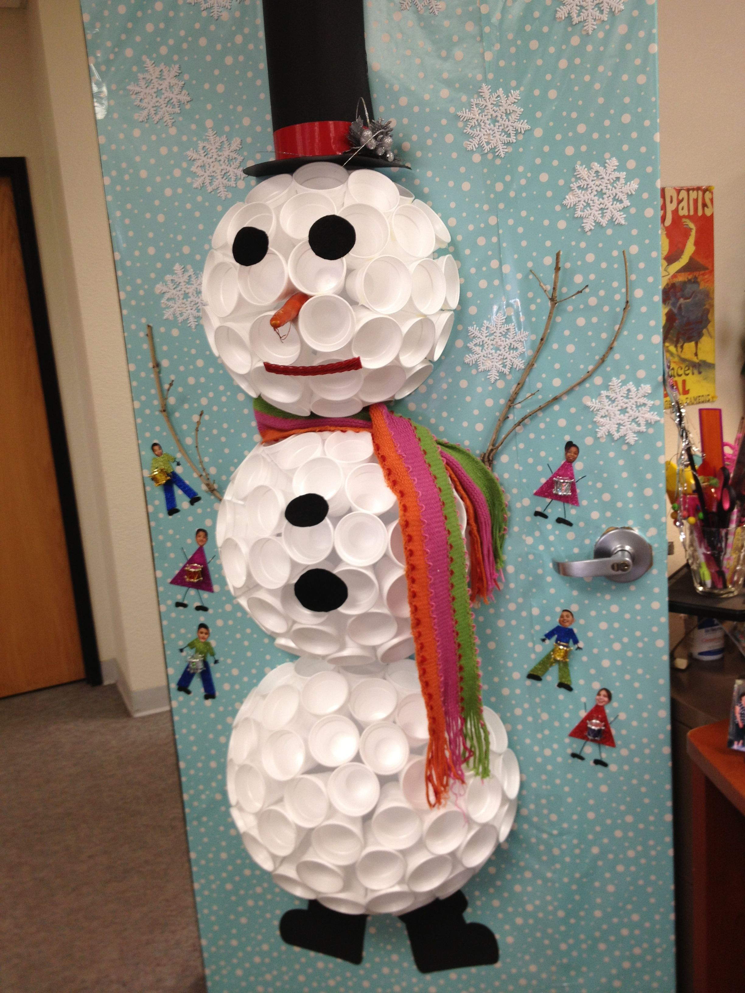 Styrofoam cup snowman get crafty pinterest for Cup snowman