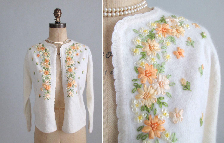 1960s Ribbon Embroidered Cardigan   Vintage   Pinterest   Bordado ...