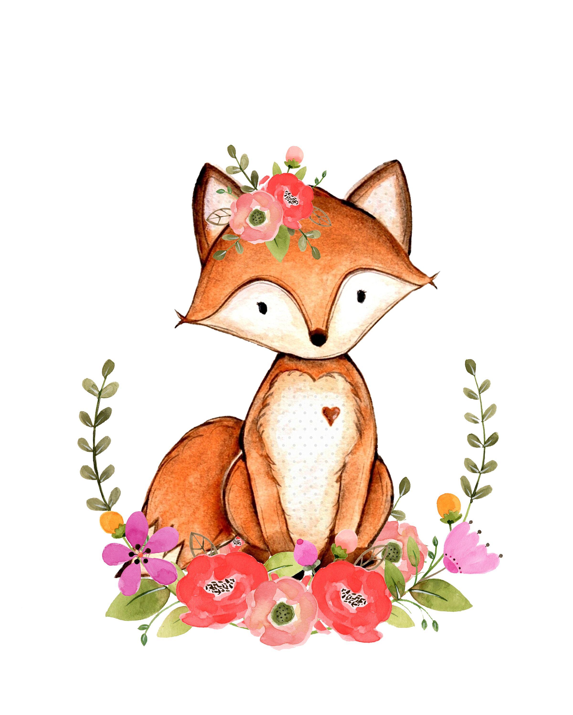 Открытка на день матери лисенок с цветком шаблоны, днем рождения