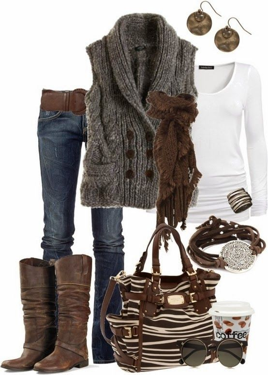 Fall Outfit With Chocolate Handbag and Cozy Cardigan