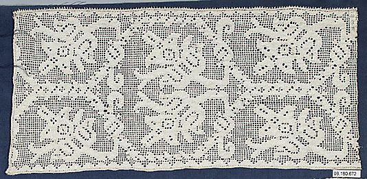 Fragment  Date: 16th century  Culture: Italian  Dimensions: L. 15 1/2 x W. 7 inches 39.4 x 17.8 cm  Classification: Textiles-Laces-Drawnwork  Accession Number: 08.180.672