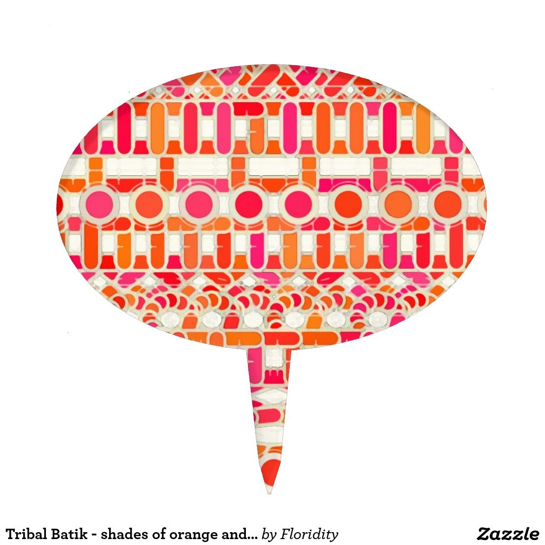 Tribal Batik - shades of orange and pink Cake Pick