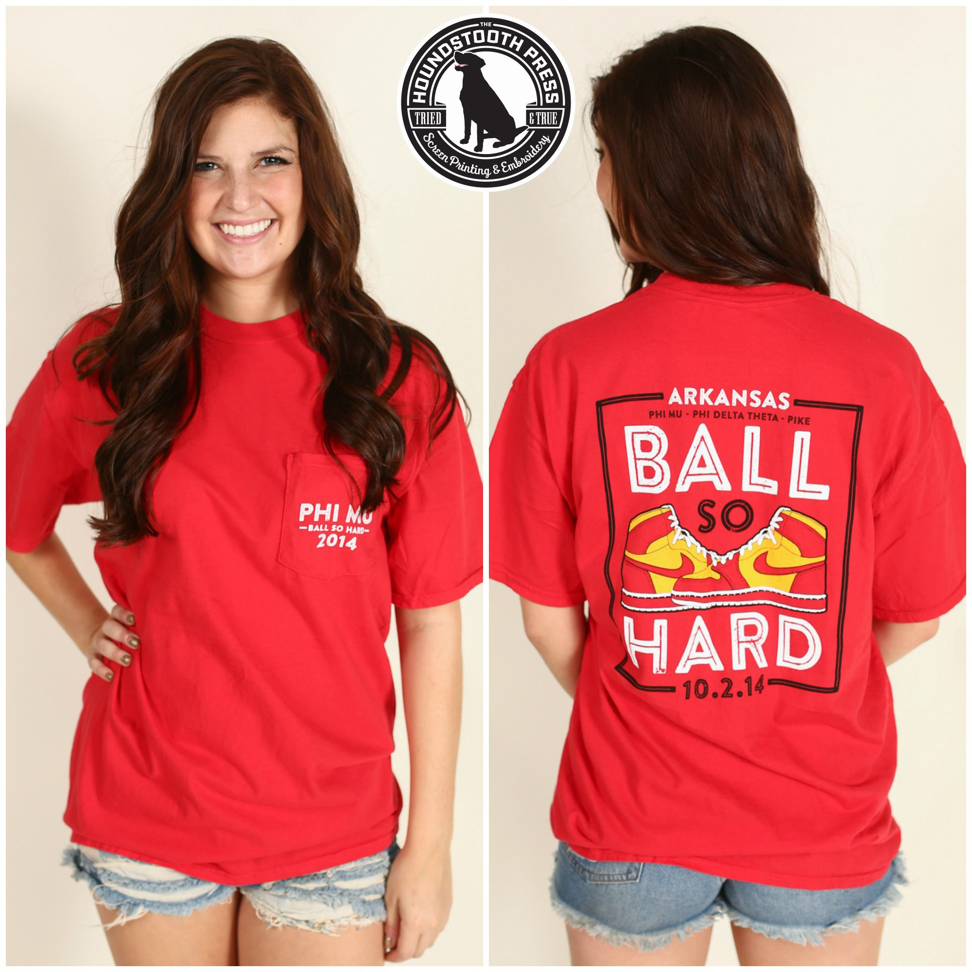 University of Arkansas Phi Mu Ball So Hard T-Shirt. Comfort Colors, Paprika. Love The Lab - Custom Designs - Phi Mu.