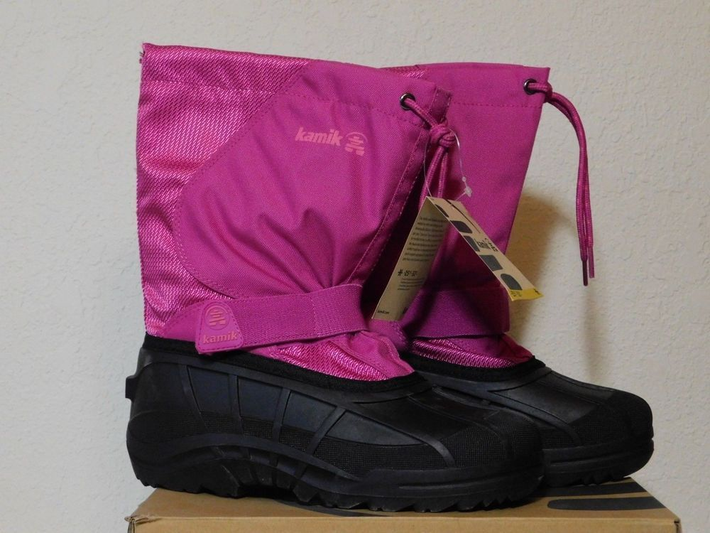 pink and black snow boots