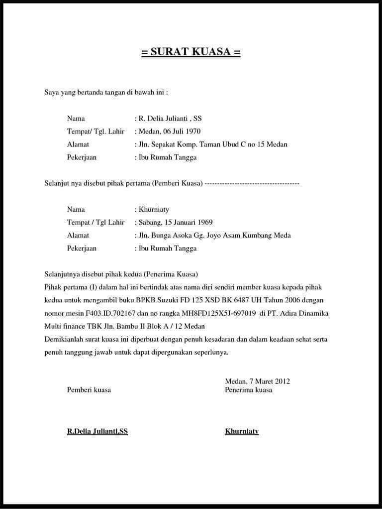 Contoh Surat Kuasa Pengambilan Dokumen Doc Surat Surat Kuasa Tanda