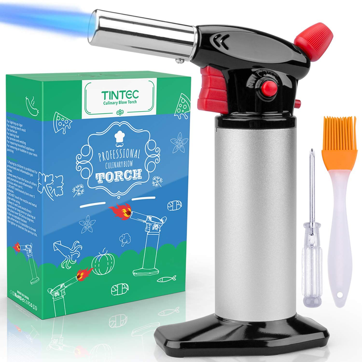 Cooking torch lighter tintec chef culinary blow torch