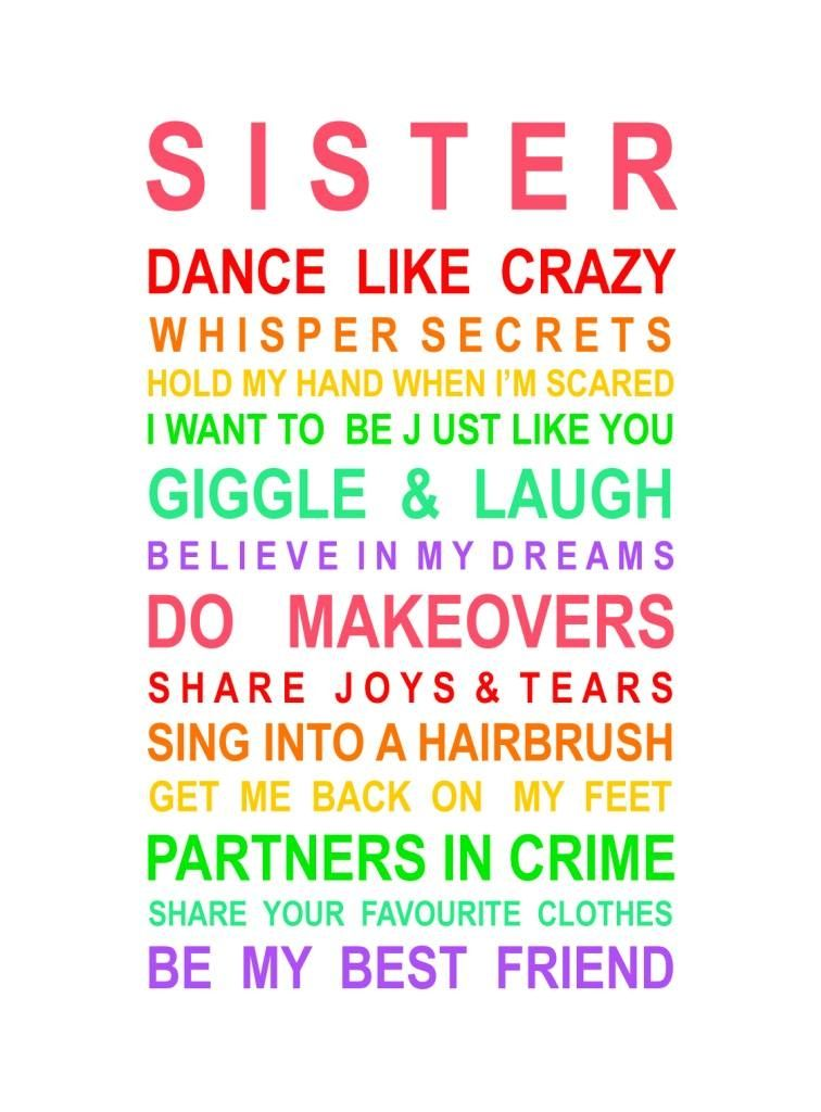 Sister Poster | hardtofind. | Sisters quotes, Love my