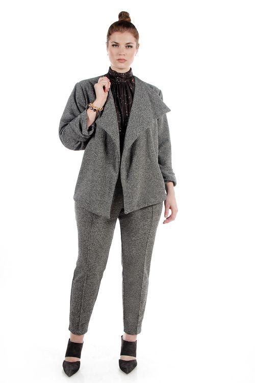 af386c98f54a JIBRI High Waist Gray Metallic Knit Pencil Pants Girl Fashion