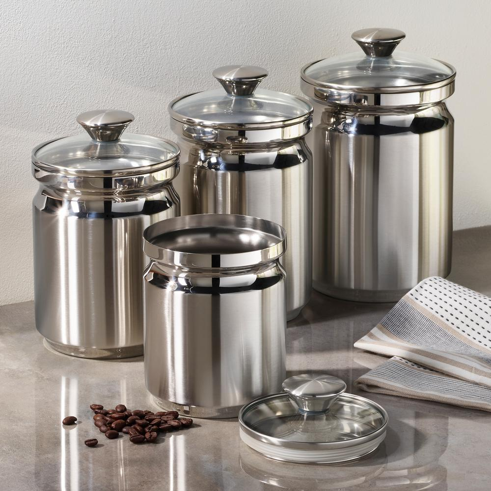 Tramontina Gourmet 4-Piece Stainless Steel Covered Canister ...