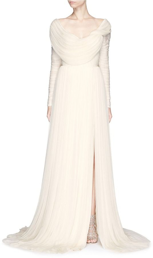 03bfb975759 DELPOZO Made-to-Order Gathered shoulder silk tulle bridal gown ...