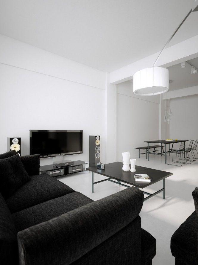 Good Luxury Minimalist Loft Designs In Black And White   Image 02 : Black White  Palatial Living Room Diner