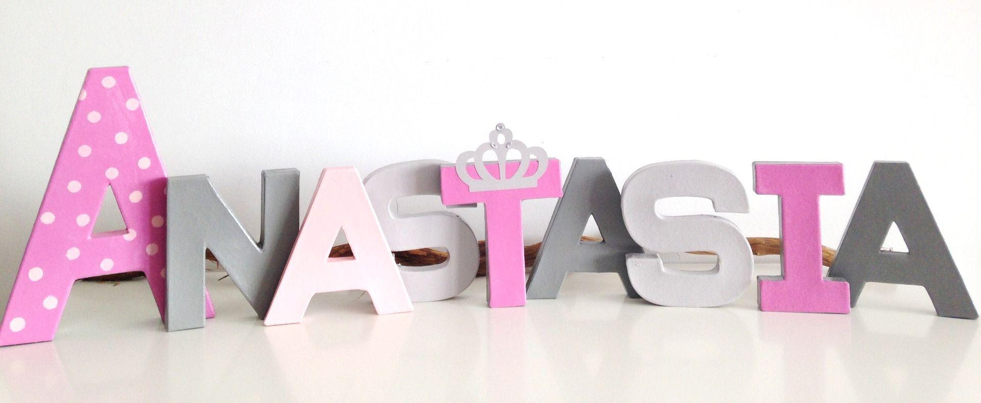 lettres dcoratives prnom poser dcoration chambre enfant thme princesse gris et rose