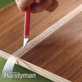 protect edges from glue squeezing out: hold together, cover with tape. Cut tape along seam. Separate and glue. Glue oozes onto tape. |  FamilyHandyman
