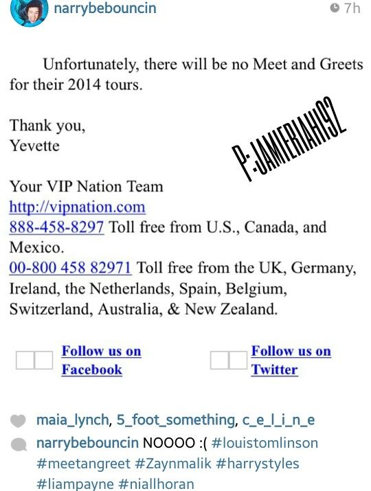 NOOOOOOOOOOOOOOOOOOOOOOOOOOOOOOOOO! :'( well that sucks :'(<<< you guys probably don't understand. They won't have time. It's a bigger tour. Bigger arenas or I guess 'stadiums' they are going to be so tired. I wouldn't want them to do any VIP stuff cause it would just tire them out more.