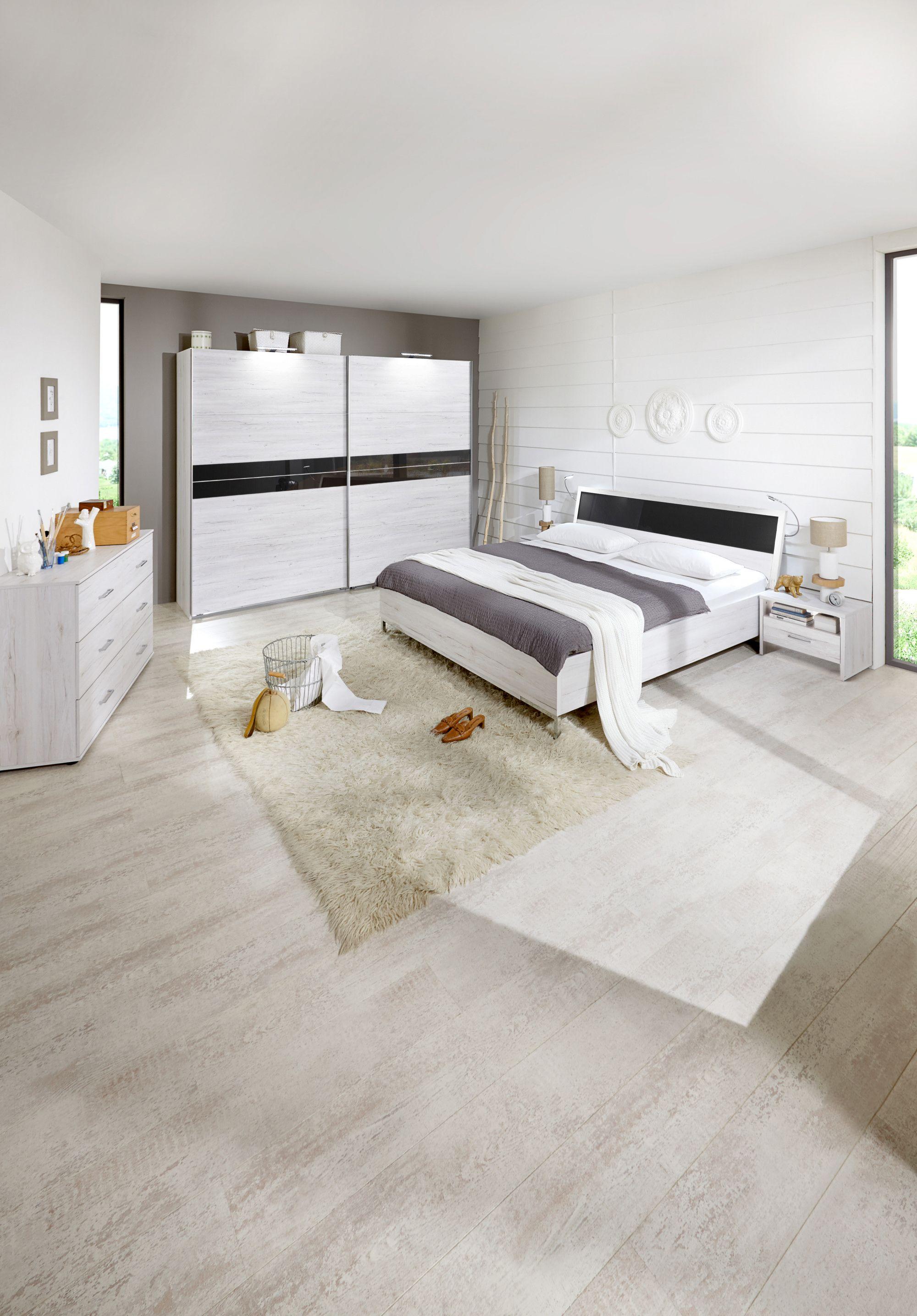 Schlafzimmer Mit Bett 180 X 200 Cm Weisseiche Glas Grau Woody 132