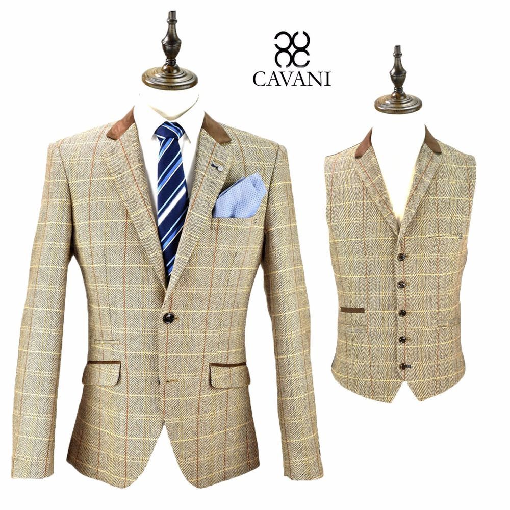 Mens Cavani Designer Herringbone Brown Tweed Wool Blazer Waistcoat ...