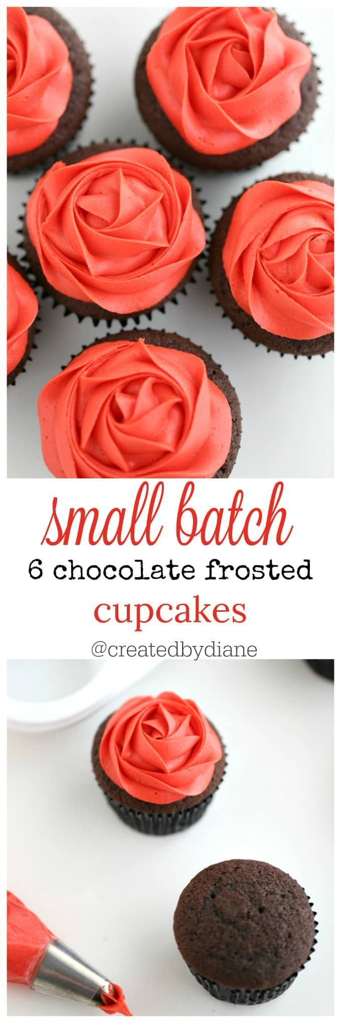 small batch 6 chocolate frosted cupcakes with silky smooth buttercream frosting  @createdbydiane