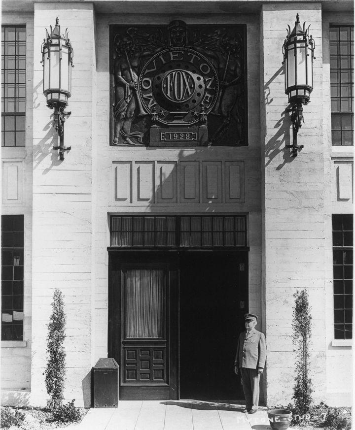 Historic Photograph Of Front Door To The Fox Movietone Studios In