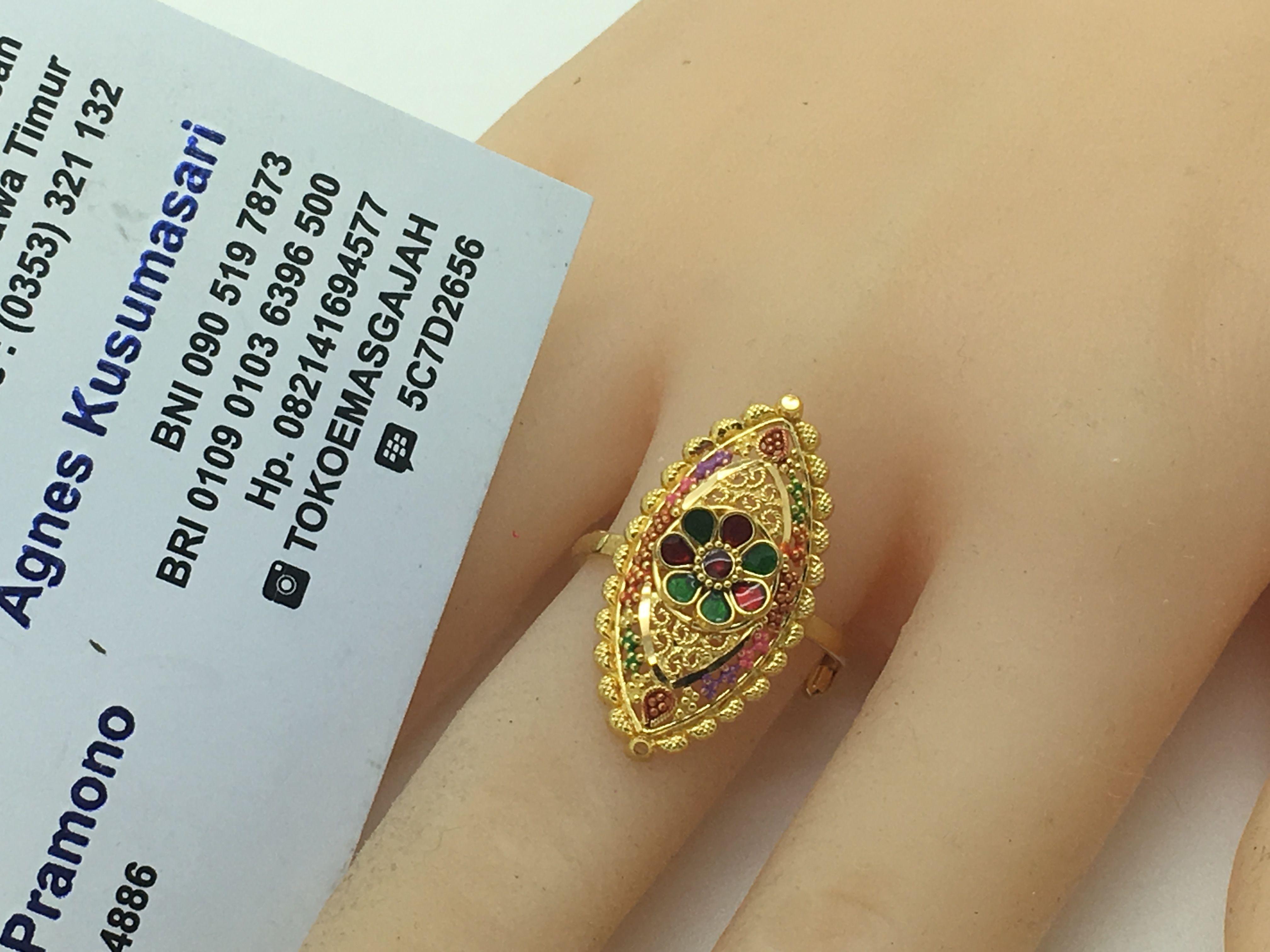 22k / 91,6% Gold Dubai / India Diamond Shape Ring size adjustable ...